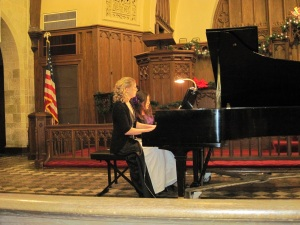 Jessica performing at the piano at Central Methodist University her freshman year - 2010 - SAI music fraternity annual recital in Linn Memorial United Methodist Church.