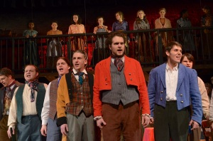 Nathan (in Yellow coat) as a student in Les Miserable performance by Carousel Productions, Macon, MO in March 2014.  Photo by Kelly Lewis Photography