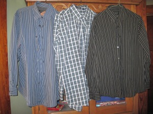 Three dress shirts: Calvin-Klein, Van Heusen, and Hathaway.  Cost of all three totalled $6.00.  Like new, maybe never worn.