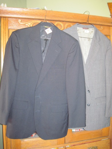 One dark blue classic styled 100% worsted wool, fully lined suit coat - $5.00.  The other is half lined and not as fancy at $3.00.